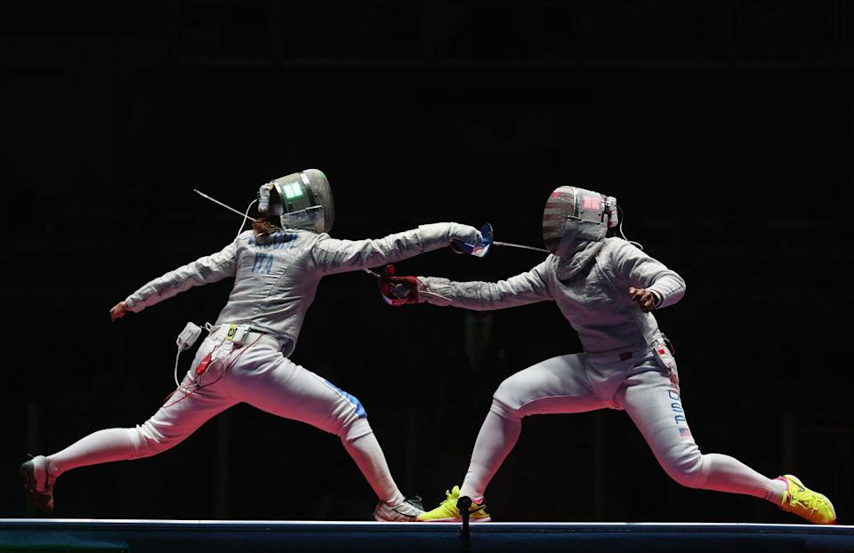<p>This may not seem odd, but it is. If a challenge or appeal is wanted during a match, the athlete cannot leave the piste or field or play. In 2012 South Korea challenged a call, and fencer Shin A-lam was forced to stay on the piste for nearly an hour before a decision was made. </p>