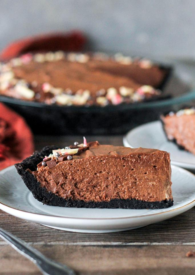 """<p>Peppermint extract gives this pie a perfect wintertime bite.</p><p>Get the recipe from <a rel=""""nofollow"""" href=""""http://www.delish.com/cooking/recipe-ideas/recipes/a45140/chocolate-peppermint-pie-recipe/"""">Delish</a>.</p>"""