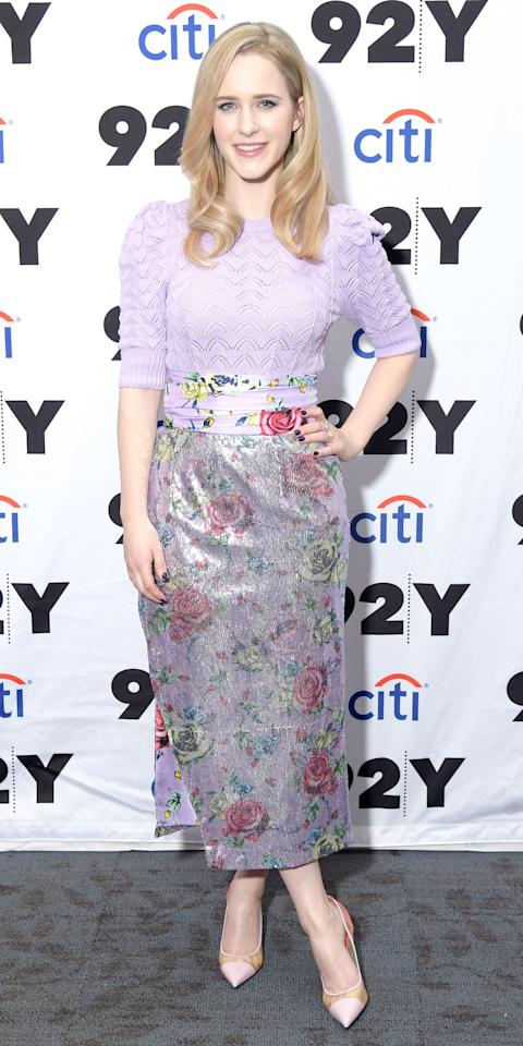 <p>At the 92nd Street Y, Rachel Brosnahan tucked a Prabal Gurung purple knit blouse into a shimmery floral print skirt and finished her outfit with pastel pumps.</p>