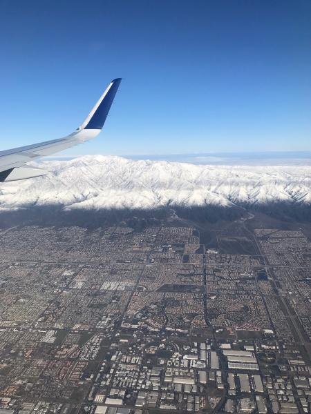 This photo provided by Greg Weber shows a snow covered Mount. Baldy in the San Gabriel Mountains, east of Los Angeles on Friday, Dec. 27, 2019. A winter storm has brought a deluge of rain and snow to Southern California. Snow has shut down the vital Interstate 5 in Tejon Pass through the mountains north of Los Angeles and dozens of miles of Interstate 15 from Baker, California, to Primm, Nevada. (Greg Weber via AP)
