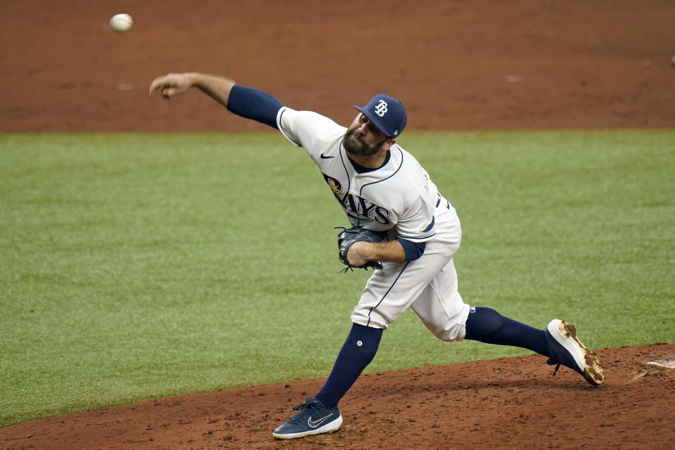 Tampa Bay Rays relief pitcher Andrew Kittredge delivers to New York Yankees' Giancarlo Stanton during the third inning of a baseball game Saturday, April 10, 2021, in St. Petersburg, Fla. (AP Photo/Chris O'Meara)