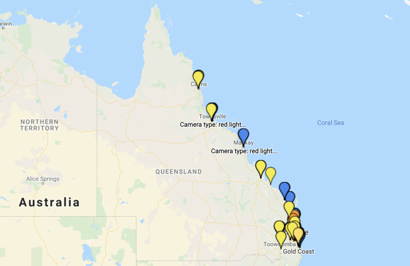 Picture of all the different locations throughout Queensland where there are speed or red-light cameras.