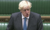 In this grab taken from video, Britain's Prime Minister Boris Johnson speaks during Prime Minister's Questions in the House of Commons, London, Wednesday, Sept. 16, 2020. (House of Commons/PA via AP)
