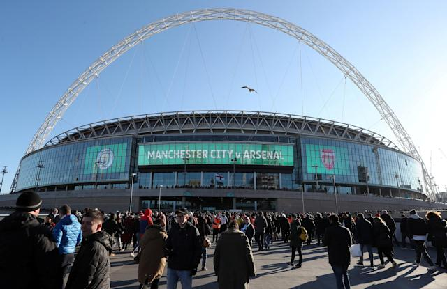 "FILE PHOTO: Soccer Football - Carabao Cup Final - Arsenal vs Manchester City - Wembley Stadium, London, Britain - February 25, 2018 General view outside the stadium before the match Action Images via Reuters/Peter Cziborra EDITORIAL USE ONLY. No use with unauthorized audio, video, data, fixture lists, club/league logos or ""live"" services. Online in-match use limited to 75 images, no video emulation. No use in betting, games or single club/league/player publications. Please contact your account representative for further details."