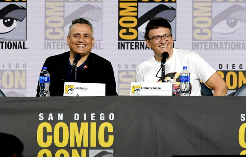 "SAN DIEGO, CALIFORNIA - JULY 19: Joe Russo and Anthony Russo speak at the Writing ""Avengers: Endgame"" Panel during 2019 Comic-Con International at San Diego Convention Center on July 19, 2019 in San Diego, California. (Photo by Kevin Winter/Getty Images)"
