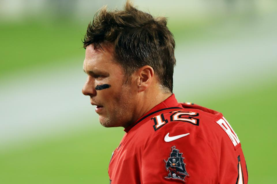 TAMPA, FLORIDA - NOVEMBER 08: Tom Brady #12 of the Tampa Bay Buccaneers looks on before the game against the New Orleans Saints at Raymond James Stadium on November 08, 2020 in Tampa, Florida. (Photo by Mike Ehrmann/Getty Images)