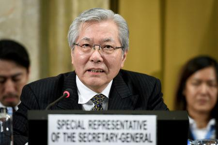 FILE PHOTO: United Nations Special Representative of the Secretary-General for Afghanistan Tadamichi Yamamoto delivers a speech during the UN conference on Afghanistan in Geneva