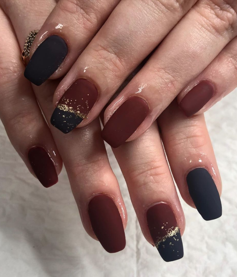 "<p>If you generally like to go with darker colors in the wintertime, <a href=""https://www.instagram.com/confessionailswithstephanie/"" rel=""nofollow noopener"" target=""_blank"" data-ylk=""slk:nail artist Stephanie El Habach"" class=""link rapid-noclick-resp"">nail artist Stephanie El Habach</a> shows how adding a matte top coat (and maybe some gold glitter) to your manicure will give it a chic, sophisticated look. </p><p><a class=""link rapid-noclick-resp"" href=""https://go.redirectingat.com?id=74968X1596630&url=https%3A%2F%2Fwww.ulta.com%2Fmatte-top-coat%3FproductId%3DxlsImpprod5320079&sref=https%3A%2F%2Fwww.oprahmag.com%2Fbeauty%2Fg34113691%2Fchristmas-nail-ideas%2F"" rel=""nofollow noopener"" target=""_blank"" data-ylk=""slk:SHOP TOP COAT"">SHOP TOP COAT</a></p>"