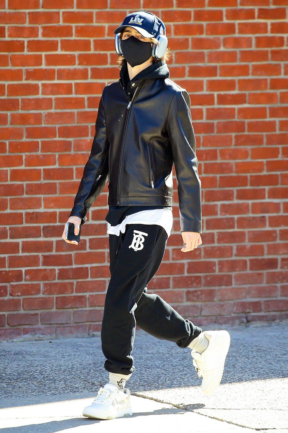 <p>Timothée Chalamet walks around New York City after a solo breakfast on Thursday. </p>