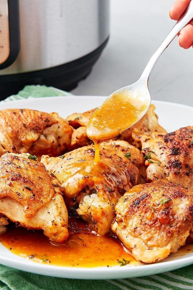 """<p>Thanks to a little slurry of flour and hot chicken stock or water, the gravy that comes with these chicken thighs is luxuriously smooth and full of chicken flavour. We think it's the best thing you can do with those magical chicken fat drippings! </p><p>Get the <a href=""""https://www.delish.com/uk/cooking/recipes/a30244017/instant-pot-chicken-thighs-recipe/"""" rel=""""nofollow noopener"""" target=""""_blank"""" data-ylk=""""slk:Instant Pot Chicken Thighs"""" class=""""link rapid-noclick-resp"""">Instant Pot Chicken Thighs</a> recipe.</p>"""