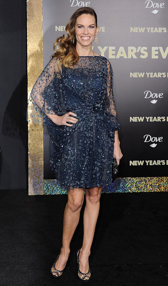 """<a href=""""http://movies.yahoo.com/movie/contributor/1800020739"""">Hilary Swank</a> at the Los Angeles premiere of <a href=""""http://movies.yahoo.com/movie/1810219047/info"""">New Year's Eve</a> on December 5, 2011."""