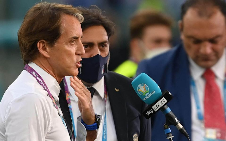 Italy's coach Roberto Mancini gives an interview prior to the UEFA EURO 2020 - AFP