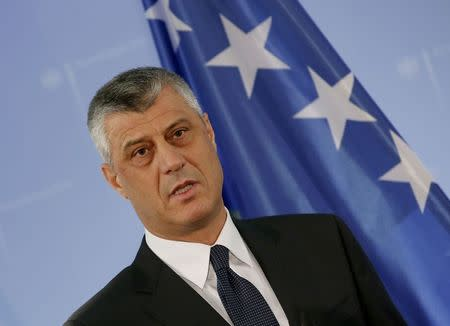 Kosovo's Foreign Minister Thaci speaks to the media  in Berlin