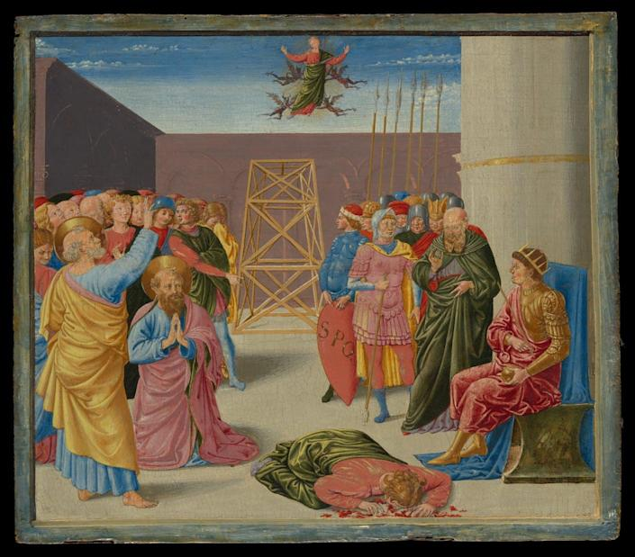 A pastel 15th century painting showing Simon the magician held aloft by demons