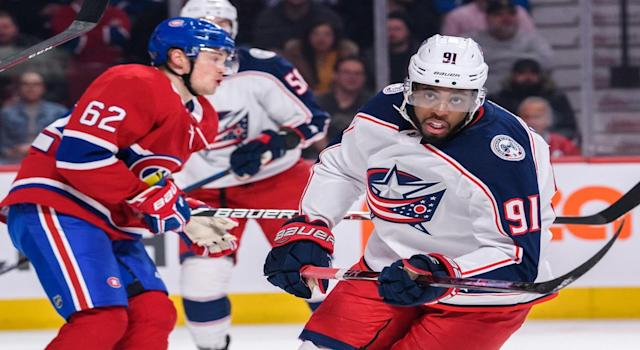 Anthony Duclair (91) on ice for Columbus Blue Jackets vs Montreal Canadiens (Photo by Vincent Ethier/Icon Sportswire)