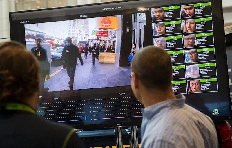 A display shows a facial recognition system for law enforcement during the NVIDIA GPU Technology Conference in 2017 in Washington (AFP Photo/SAUL LOEB)