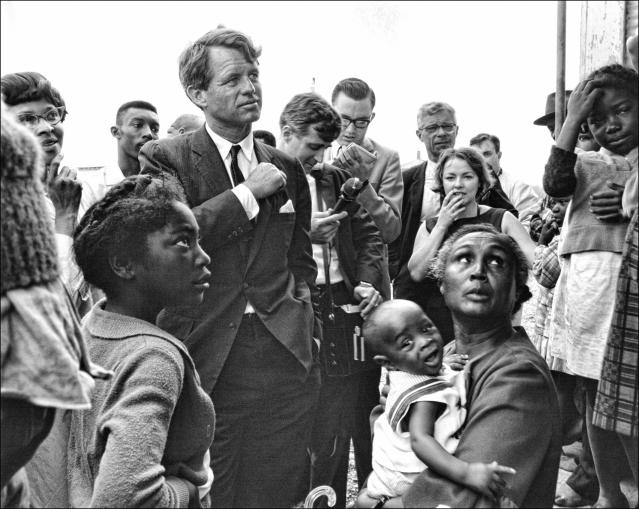 <p>Kennedy visits the Freedom City cooperative farm near Greenville, Miss. (Photo: Dan Guravich) </p>