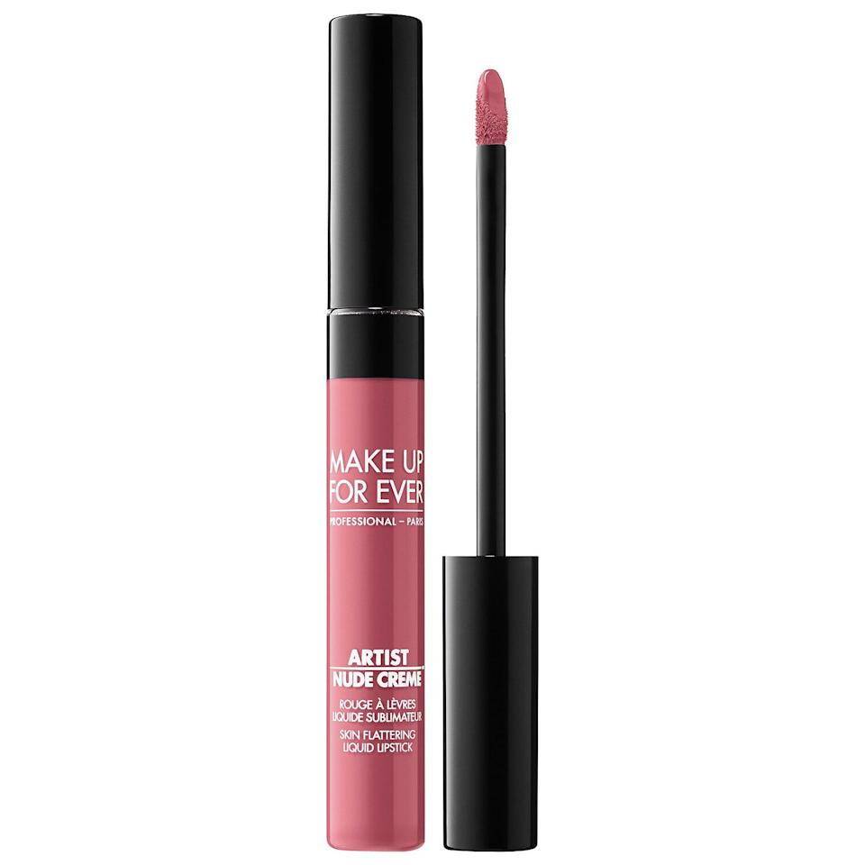 """<p><strong>MAKE UP FOR EVER</strong></p><p>sephora.com</p><p><strong>$20.00</strong></p><p><a href=""""https://go.redirectingat.com?id=74968X1596630&url=https%3A%2F%2Fwww.sephora.com%2Fproduct%2Fartist-nude-creme-liquid-lipstick-P445728&sref=https%3A%2F%2Fwww.bestproducts.com%2Fbeauty%2Fg1215%2Fspring-lipstick-colors%2F"""" target=""""_blank"""">Shop Now</a></p><p>""""I love this formula because it has the ease of a gloss with full coverage and a patent shine,"""" says <a href=""""https://www.instagram.com/iwantalexx/"""" target=""""_blank"""">Alexx Mayo</a>, Lizzo's go-to makeup artist. """"This is a universal color that can work on any skin tone.""""</p>"""