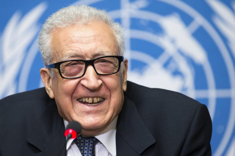 UN Joint Special Representative for Syria, Lakhdar Brahimi smiles as he addresses the media after the UN announced the Conference Geneva 2 following a meeting with the US Under Secretary of State for Political Affairs Wendy Sherman and the Russian deputy foreign ministers Mikhail Bogdanov and Gennady Gatilov, at the European headquarters of the United Nations, in Geneva, Switzerland, Monday, November 25, 2013. (AP Photo/Keystone/Salvatore Di Nolfi)