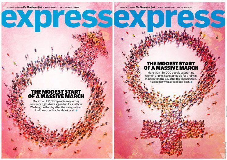 The wrong version and the corrected version of a magazine cover