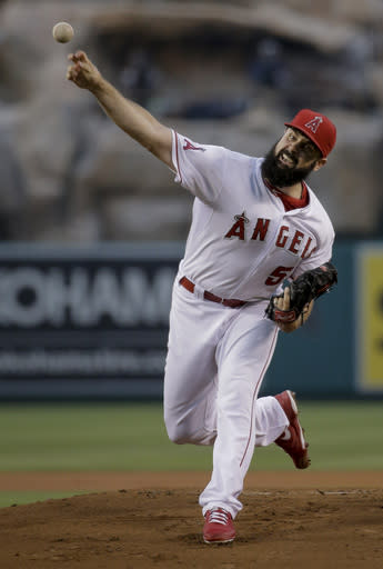 Los Angeles Angels starting pitcher Matt Shoemaker throws against the Miami Marlins during the first inning of a baseball game in Anaheim, Calif., Tuesday, Aug. 26, 2014. (AP Photo/Chris Carlson)