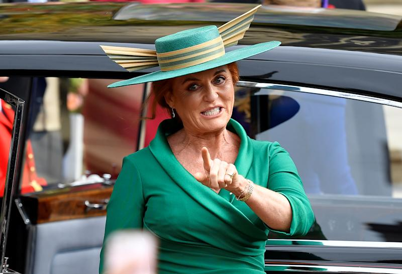 Sarah Ferguson, Duchess of York, arrives for the royal wedding of Princess Eugenie and Jack Brooksbank at St George's Chapel in Windsor Castle, Windsor, Britain October 12, 2018. REUTERS/Toby Melville