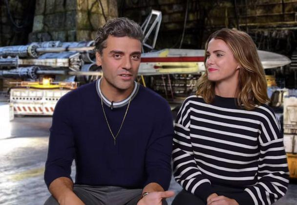 PHOTO: Oscar Isaac and Keri Russell answer questions on a segment of 'Jimmy Kimmel Live' called 'Star Wars Cast Answers Questions From Kids.' (Jimmy Kimmel Live)