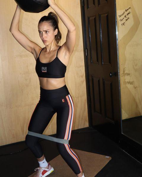 """<p>Mid-workout, Jessica's skin glistened as she completed a fierce resistance band and weighted ball circuit.</p><p><a href=""""https://www.instagram.com/p/CCC3HCAlmRh/?igshid=1qd3kiicl39y5"""" rel=""""nofollow noopener"""" target=""""_blank"""" data-ylk=""""slk:See the original post on Instagram"""" class=""""link rapid-noclick-resp"""">See the original post on Instagram</a></p>"""
