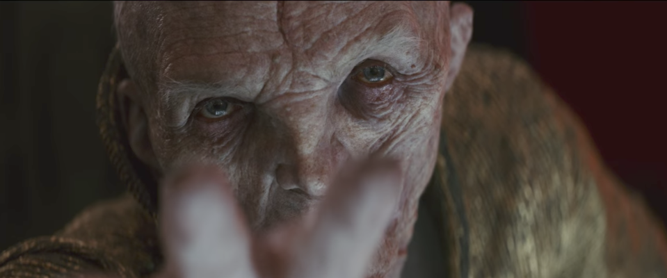 Snoke appears in his golden robes. (Credit: Lucasfilm)