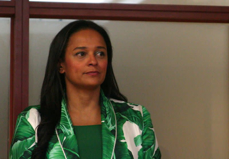 FILE PHOTO: Isabel dos Santos speaks to journalists before being sworn in as chief executive of state oil firm Sonangol in Luanda