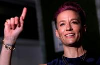 FILE PHOTO: Megan Rapinoe poses as she arrives for Sports Illustrated Sportsperson of the Year Awards in New York