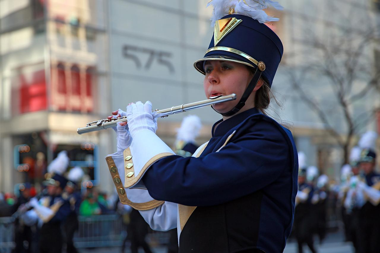 <p>A member of the Xaverian High School Pipes and Drums performs in the St. Patrick's Day Parade, March 17, 2017, in New York. (Gordon Donovan/Yahoo News) </p>