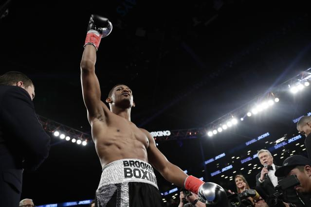 Daniel Jacobs (34-2, 29 KOs) could be next in line to fight Canelo Alvarez if he defeats Sergiy Derevyanchenko on Saturday for the vacant IBF middleweight title. (AP Photo/Frank Franklin II)