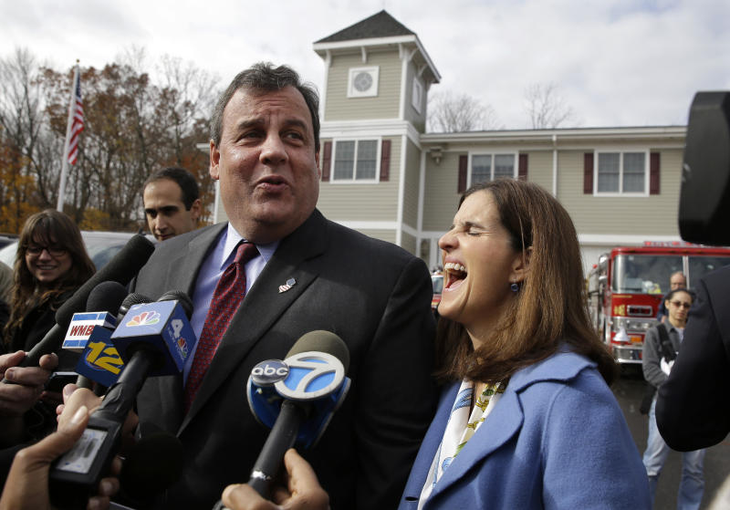 New Jersey first lady, Mary Pat Christie, laughs as husband, Republican New Jersey Gov. Chris Christie, jokes with the media after they voted in Mendham Township, N.J., Tuesday, Nov. 5, 2013. Christie is facing Democratic challenger Barbara Buono in Tuesday's election. (AP Photo/Mel Evans)