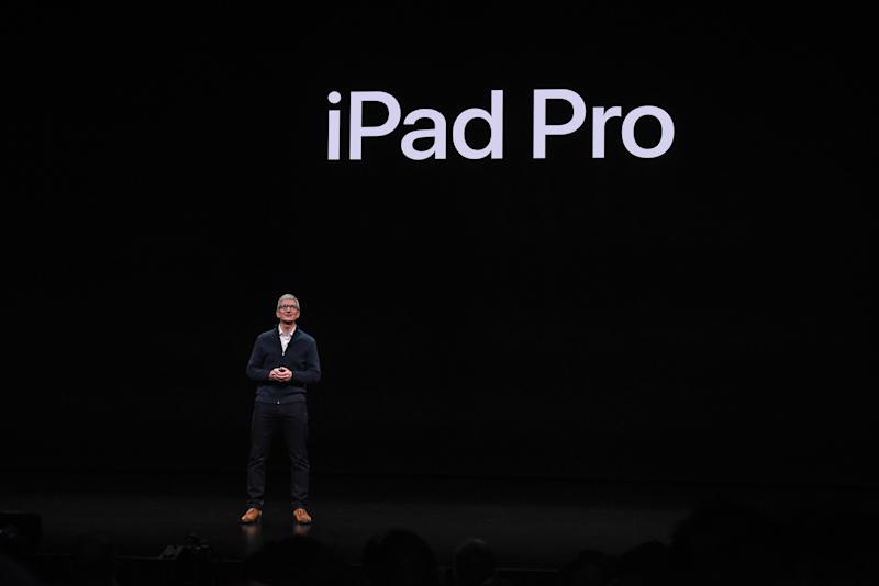 NEW YORK, NY - OCTOBER 30: Tim Cook, CEO of Apple unveils a new iPad Pro during a launch event at the Brooklyn Academy of Music on October 30, 2018 in New York City. Apple also debuted a new MacBook Air and Mac Mini. (Photo by Stephanie Keith/Getty Images)