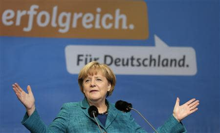 German Chancellor and CDU party head Merkel delivers a speech at a CDU election campaign event in Dresden