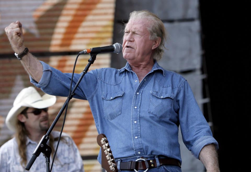 FILE - Singer Billy Joe Shaver performs at Farm Aid on Randall's Island in New York on Sept. 9, 2007. Shaver, who penned songs for Waylon Jennings, Willie Nelson and Bobby Bare, has died. His friend Connie Nelson said he died Wednesday in Texas following a stroke. He was 81. (AP Photo/Jason DeCrow, File)