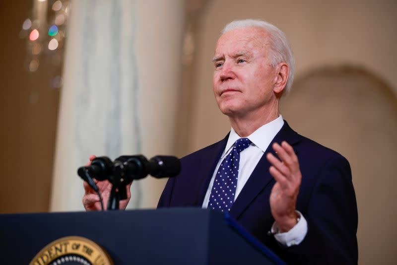 FILE PHOTO: U.S. President Biden speak at the White House in Washington
