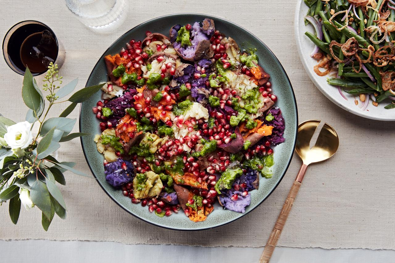 "Sure, you could use just one kind of potato for this pomegranate-topped side dish, but we love to combine a few. Try orange and purple sweet potatoes plus Yukon Golds. <a href=""https://www.epicurious.com/recipes/food/views/torn-potatoes-of-many-colors-with-chile-lime-butter?mbid=synd_yahoo_rss"">See recipe.</a>"
