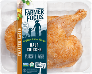 """Farmer Focus Toasted Lager Organic and Free-Range Half Chicken won the NEXTY for  """"Best New Meat, Dairy or Animal-Based Product."""" The Farmer Focus take on the classic beer can chicken has a well-balanced flavor with notes of hops, paprika, lemon, and roasted corn."""