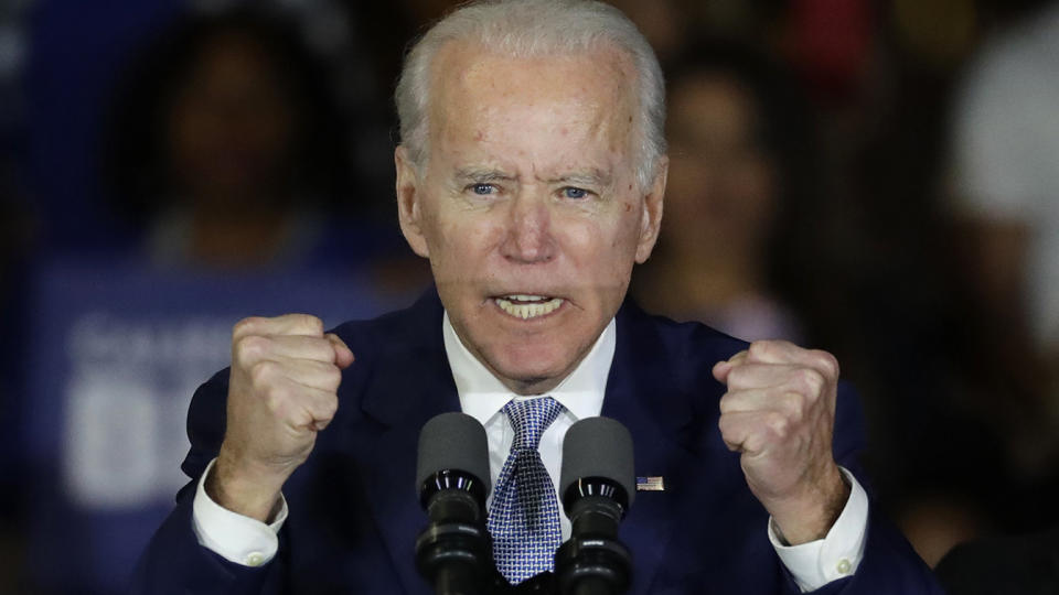 Democratic presidential candidate former Vice President Joe Biden speaks at a primary election night campaign rally Tuesday, March 3, 2020, in Los Angeles. (Chris Carlson/AP)