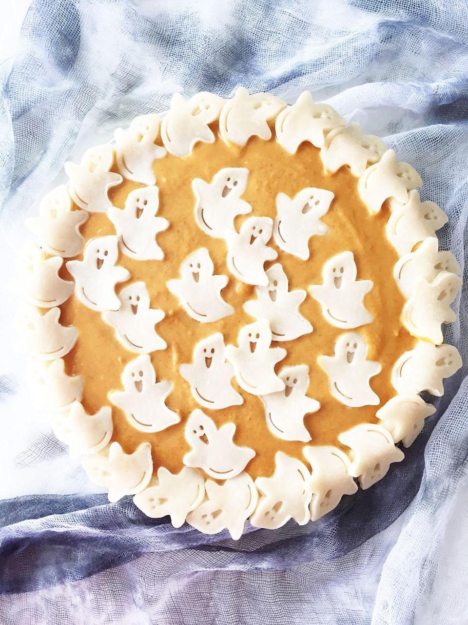 """<p>Believe it or not, decorating with these little cut-out ghosts is actually easier than creating a traditional crust. And they're certainly more adorable!</p><p><strong>Get the recipe at <a href=""""https://aprettylifeinthesuburbs.com/halloween-pumpkin-pie/"""" rel=""""nofollow noopener"""" target=""""_blank"""" data-ylk=""""slk:A Pretty Life in the Suburbs"""" class=""""link rapid-noclick-resp"""">A Pretty Life in the Suburbs</a>.</strong></p><p><strong><a class=""""link rapid-noclick-resp"""" href=""""https://go.redirectingat.com?id=74968X1596630&url=https%3A%2F%2Fwww.walmart.com%2Fbrowse%2Fhome%2Fbakeware%2Fthe-pioneer-woman%2F4044_623679_8455465&sref=https%3A%2F%2Fwww.thepioneerwoman.com%2Ffood-cooking%2Fmeals-menus%2Fg32110899%2Fbest-halloween-desserts%2F"""" rel=""""nofollow noopener"""" target=""""_blank"""" data-ylk=""""slk:SHOP BAKEWARE"""">SHOP BAKEWARE</a><br></strong></p>"""