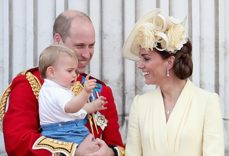 Prince William, Kate Middleton and Prince Louis on the Buckingham Palace balcony for the Trooping of the Colour 2019