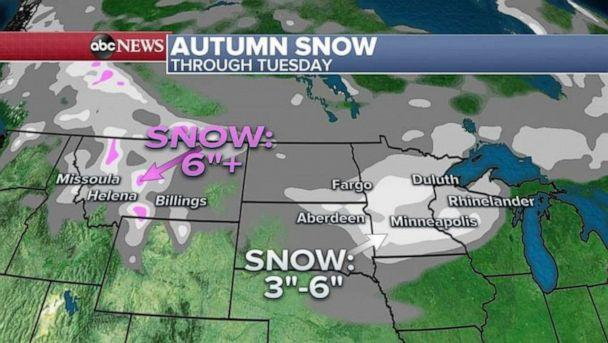 PHOTO: Meanwhile, to the north and east of the fires, from Montana into Michigan, a possible October snowstorm is developing and some areas could see near a half a foot of snow. (ABC News)
