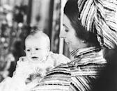 <p>A newborn Peter Phillips takes a look around Buckingham Palace during his christening. Princess Anne's eldest child was Queen Elizabeth and Prince Philip's first grandchild. </p>