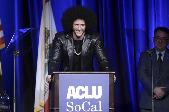 Colin Kaepernick visited Rikers Island prison on Tuesday, and the correction officers union is upset about it. (AP Photo)