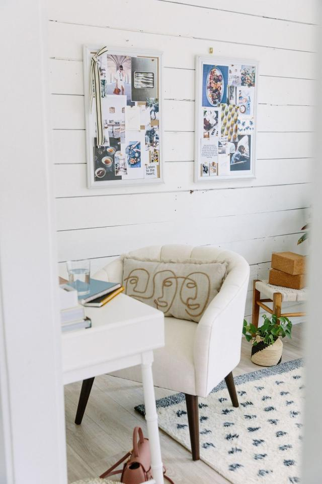"""<p>""""I love having mood boards in my office with images of things that are currently speaking to me—but in the past, they've always ended up feeling kind of messy,"""" says Styles. That is, until she found the perfect frames at Target. """"These <a href=""""http://goto.target.com/c/249354/81938/2092?subId1=RS%2C5TipsforCreatingaCalmerWorkspace%252CFromDesignProCamilleStyles%2Ckholdefehr1271%2CDEC%2CIMA%2C689303%2C202001%2CI&u=https%3A%2F%2Fwww.target.com%2Fp%2Fubrands-white-wood-frame-burlap-bulletin-board-20-x-30%2F-%2FA-13617621%3F"""" target=""""_blank"""">white wood framed boards</a> are perfectly in line with the style of my office, and the frames keep the images feeling more contained and thoughtful,"""" she explains.</p> <p>If you have your own office, hang the boards up on the wall, or if you're in a cubicle, lean them along the back of your desk. Either way, surrounding yourself with images, quotes, or designs you love will keep you motivated. </p>"""