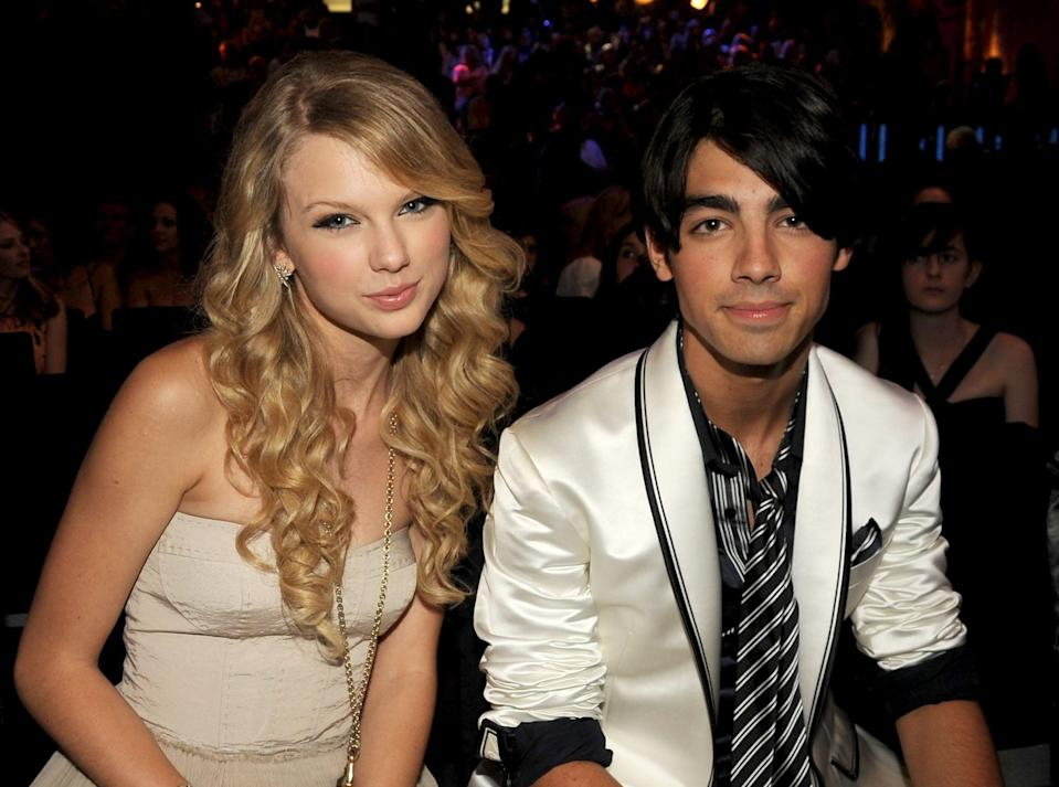 """<p><strong>When:</strong> July 2008 - October 2008</p> <p>Taylor's first highly publicized relationship was with Jonas Brothers singer Joe Jonas. The pair dated for a few months before <a href=""""https://www.youtube.com/watch?v=O6WA1Fk09vY"""" class=""""link rapid-noclick-resp"""" rel=""""nofollow noopener"""" target=""""_blank"""" data-ylk=""""slk:Taylor famously told Ellen DeGeneres"""">Taylor famously told Ellen DeGeneres</a> that he broke up with her over a 27-second phone call. Taylor responded by writing the breakup songs """"Last Kiss"""" and """"Forever and Always"""" about him, but things got even more strained between them when Joe went on to date actress Camilla Belle. Taylor penned a fiery tune called """"Better Than Revenge,"""" which includes lyrics aimed at Camilla like, """"She's an actress/But she's better known/For the things that she does on the mattress.""""</p> <p>Joe later spoke out about the breakup in <a href=""""http://www.people.com/people/article/0,,20240432,00.html?xid=Popsugar"""" class=""""link rapid-noclick-resp"""" rel=""""nofollow noopener"""" target=""""_blank"""" data-ylk=""""slk:a MySpace post"""">a MySpace post</a> that read: </p> <blockquote><p>""""Several things I will state with all my heart. I never cheated on a girlfriend. It might make someone feel better to assume or imply I have been unfaithful but it is simply not true. Maybe there were reasons for a breakup. Maybe the heart moved on. Perhaps feelings changed. I am truly saddened that anything would potentially cause you to think less of me.""""</p></blockquote> <p>It looks like the phrase """"time heals all wounds"""" is true, though, because the exes were eventually able to bury the hatchet. During a 2019 appearance on <strong>The Ellen DeGeneres Show</strong>, Taylor admitted that she <a href=""""https://www.popsugar.com/celebrity/Taylor-Swift-Ellen-DeGeneres-Show-2019-46156920"""" class=""""link rapid-noclick-resp"""" rel=""""nofollow noopener"""" target=""""_blank"""" data-ylk=""""slk:regrets putting Joe &quot;on blast.&quot;"""">regrets putting Joe """"on blast.""""</a></p>"""