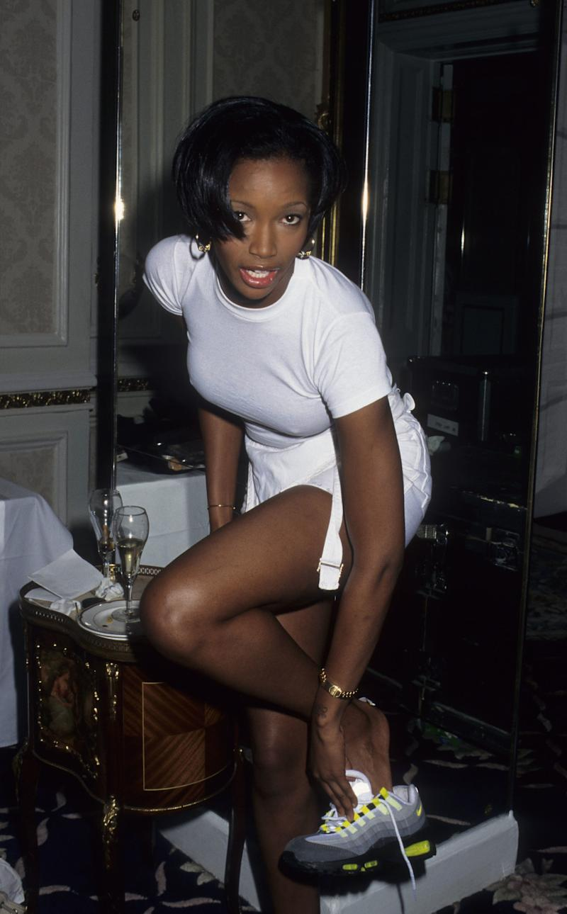 Beverly Peele backstage at the first Victoria's Secret Fashion Show, inside the Plaza Hotel in New York, 1995.