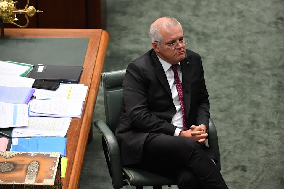 Prime Minister Scott Morrison during Question Time in the House of Representatives at Parliament House.
